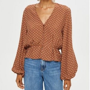 Topshop polkadot blouse- new with tags never worn
